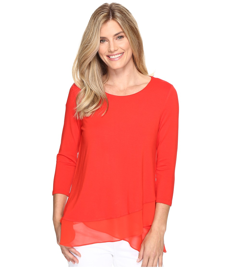 Vince Camuto - 3/4 Sleeve Asymmetrical Chiffon Hem Top (Dynamic Red) Women's Clothing
