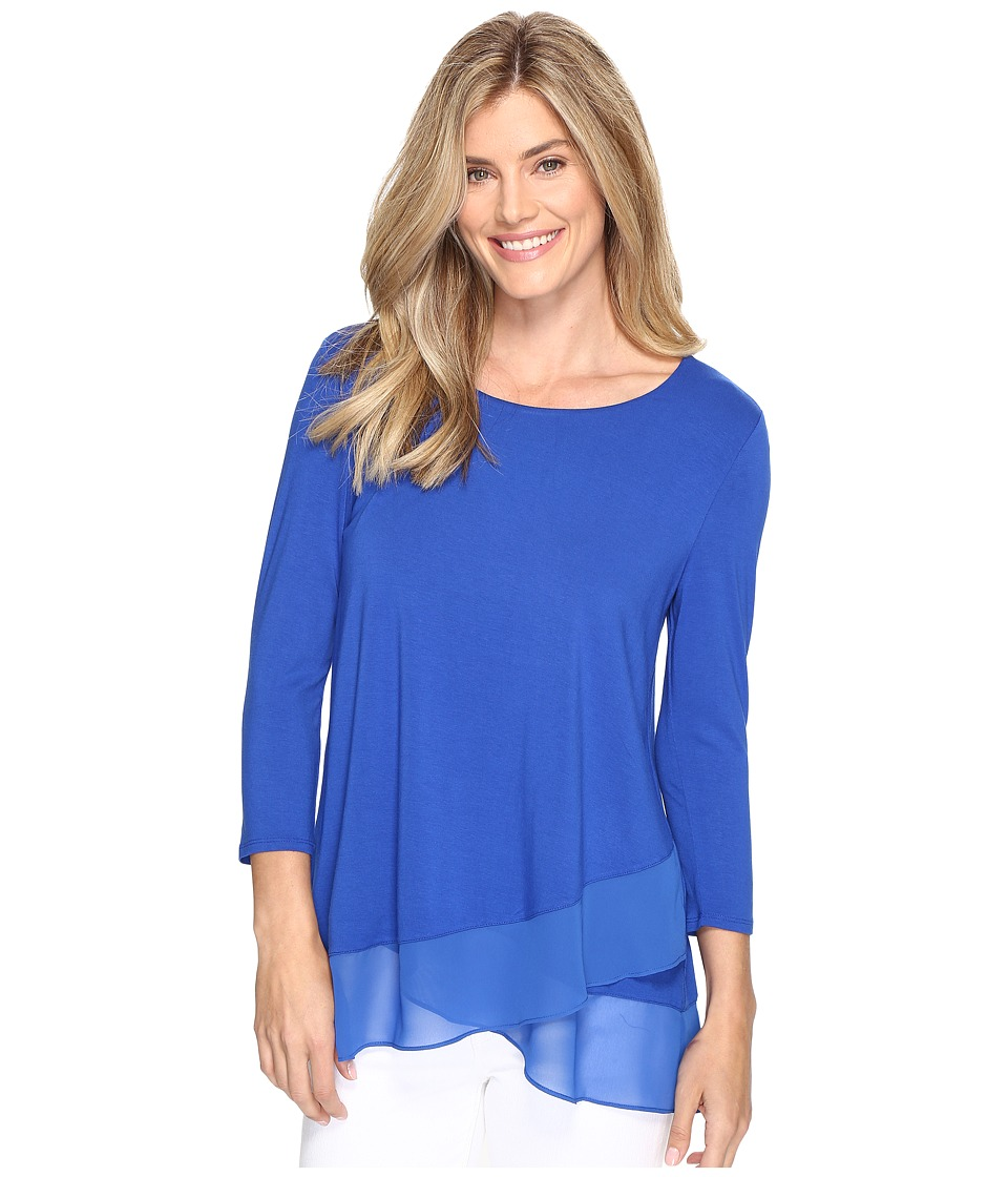 Vince Camuto - 3/4 Sleeve Asymmetrical Chiffon Hem Top (Core Blue) Women's Clothing