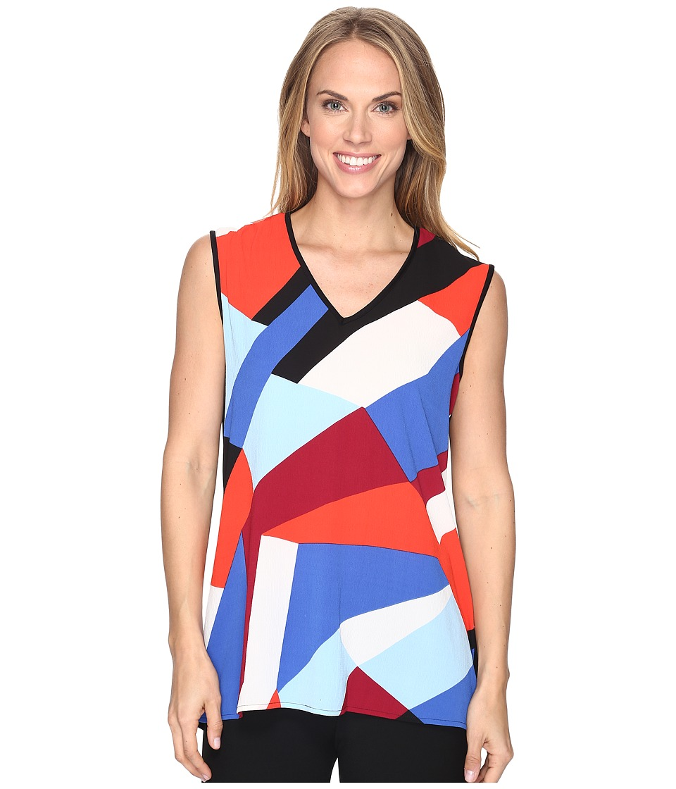 Vince Camuto - Extend Shoulder Marina Blocks Mix Media Top (Dynamic Red) Women's Clothing