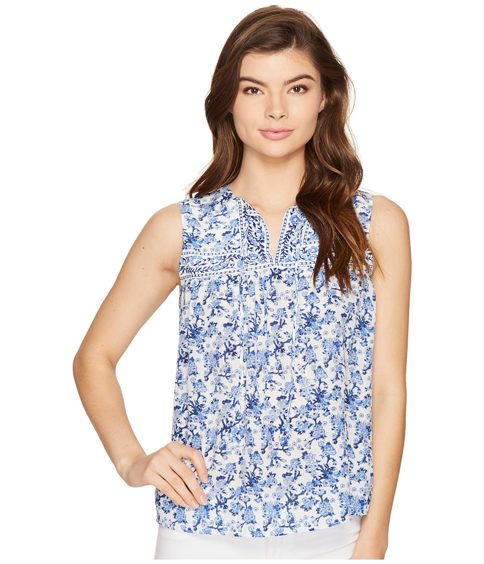 Rebecca Taylor - Sleeveless Aimee Floral Top (Blue Combo) Women's Clothing