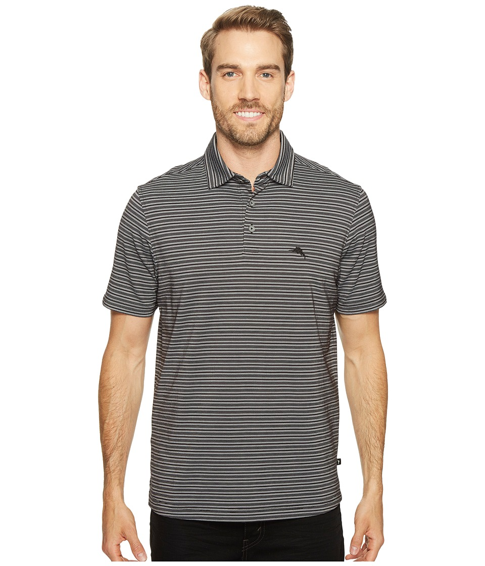 Tommy Bahama - On Par Stripe Polo (Black) Men's Clothing