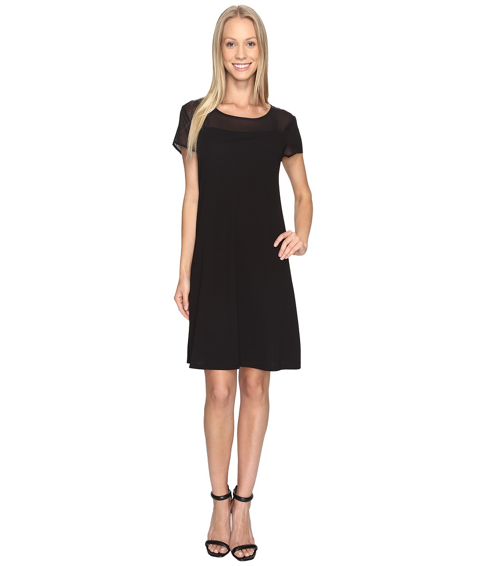 Vince Camuto - Short Sleeve Sheer Yoke Flare Dress (Rich Black) Women's Dress
