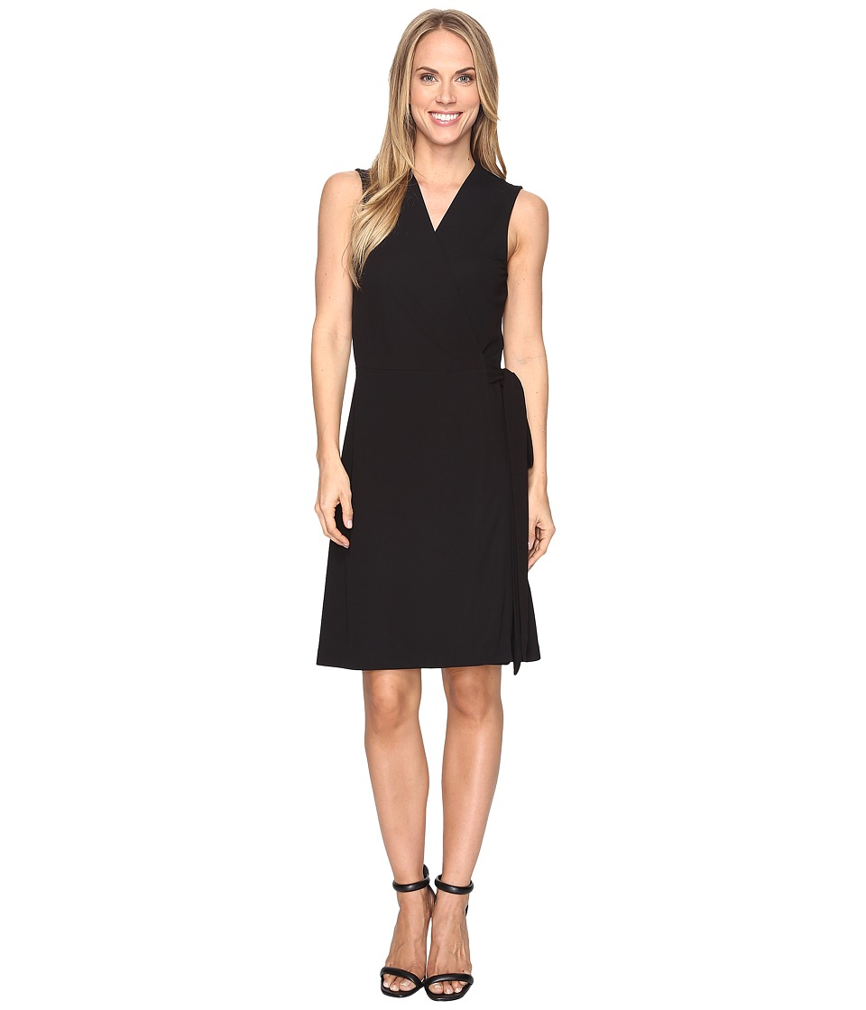 Vince Camuto Sleeveless Belted Wrap Dress (Rich Black) Women