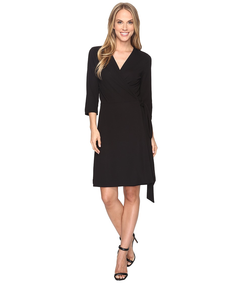 Vince Camuto - 3/4 Sleeve Belted Wrap Dress (Rich Black) Women's Dress