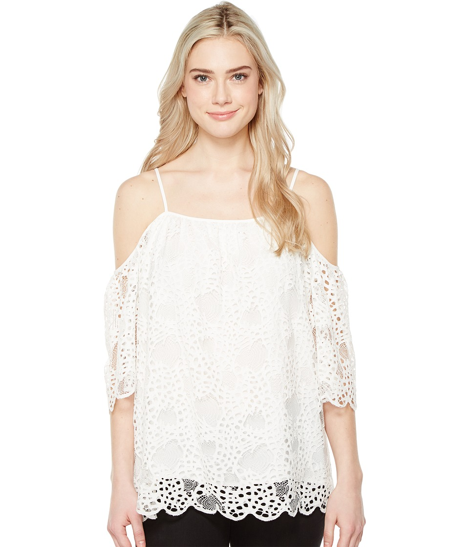 Vince Camuto - Elbow Sleeve Cold-Shoulder Organic Lace Blouse (New Ivory) Women's Blouse