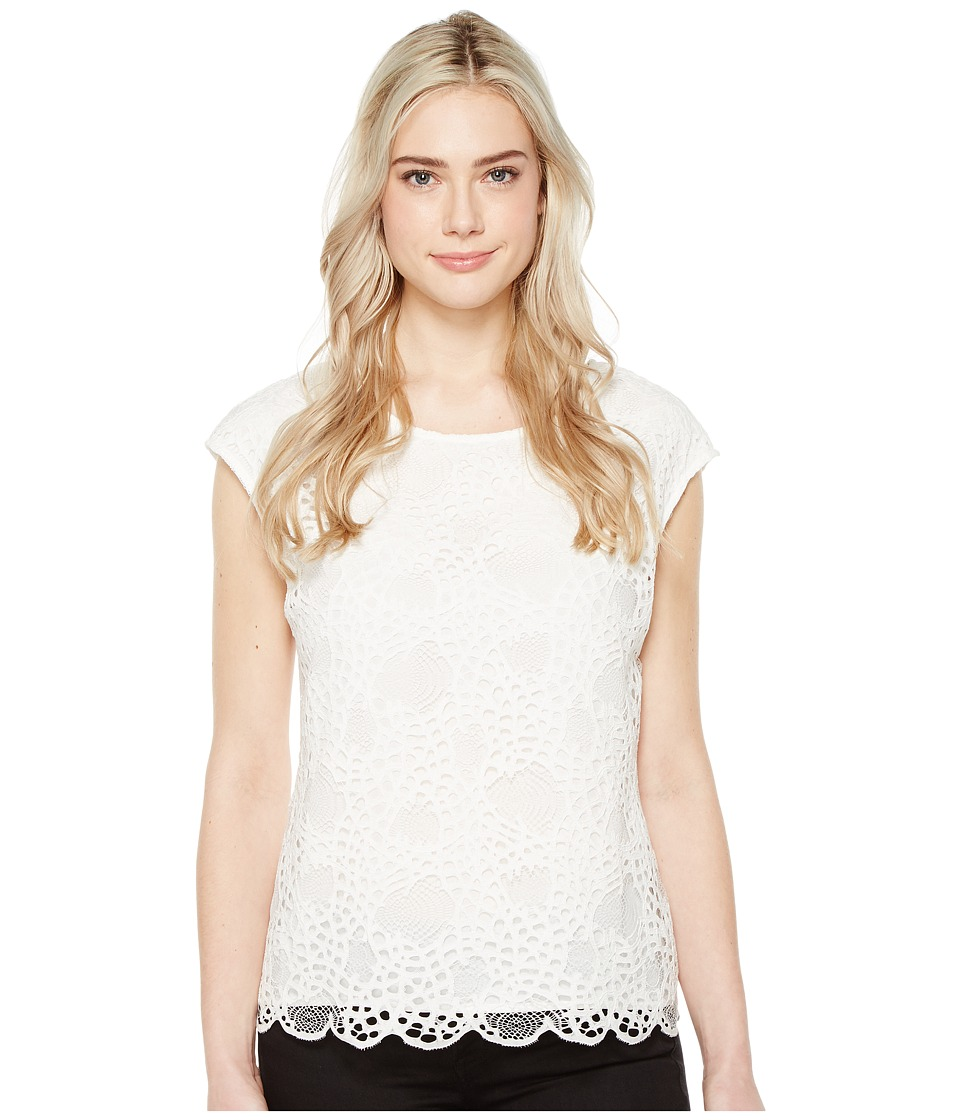 Vince Camuto - Extend Shoulder Organic Lace Blouse (New Ivory) Women's Blouse