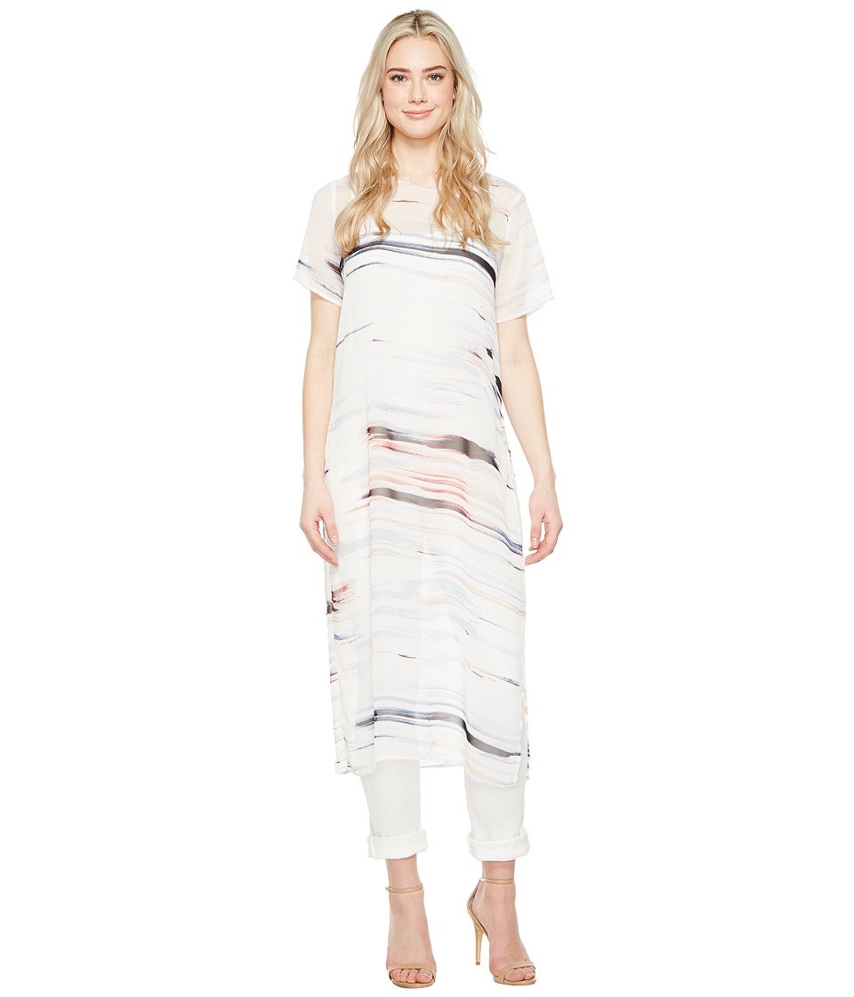 Vince Camuto - Short Sleeve Floating Whispers Long Tunic with Slits (New Ivory) Women's Blouse