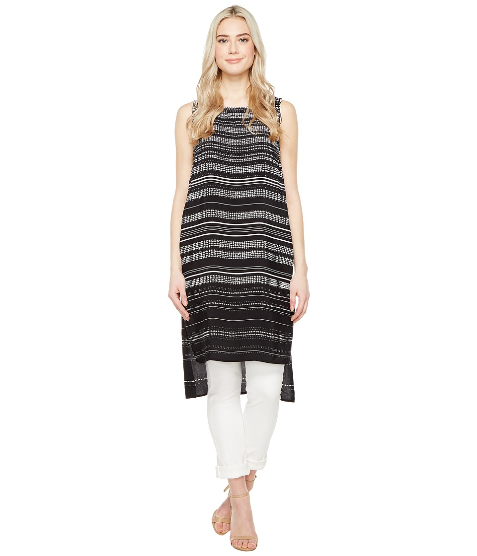 Vince Camuto - Sleeveless Pebble Stripe Tunic with Side Slits (Rich Black) Women's Blouse