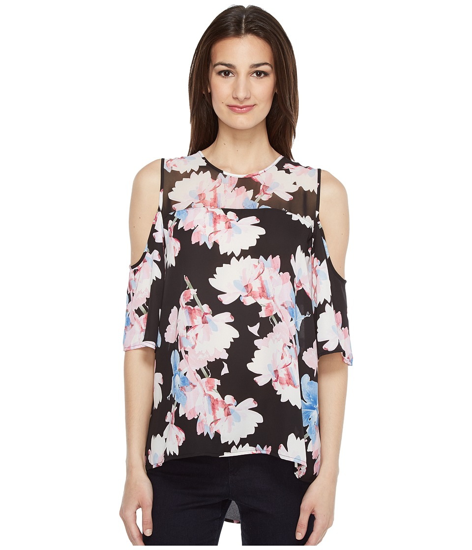 Vince Camuto - Short Sleeve Poetic Bouquet Sheer Yoke sleeve Blouse (Rich Black) Women's Blouse