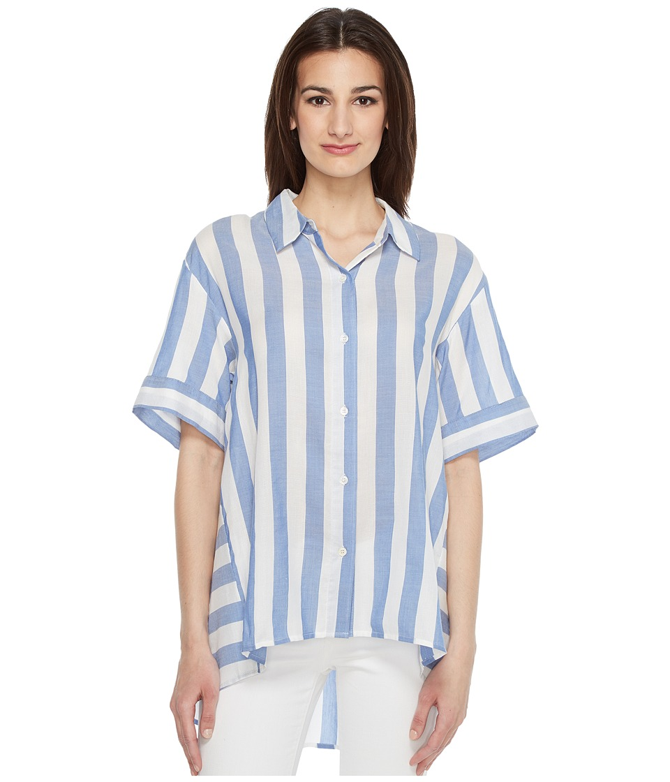 Vince Camuto - Bold Stripe Oversized Button Down Shirt (Stormy Blue) Women's Clothing