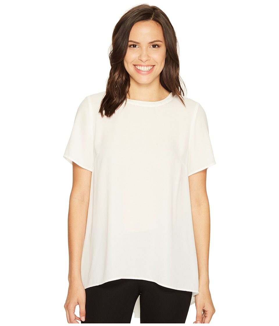 Vince Camuto - Short Sleeve High-Low Hem Blouse with Back Yoke Lace (New Ivory) Women's Blouse