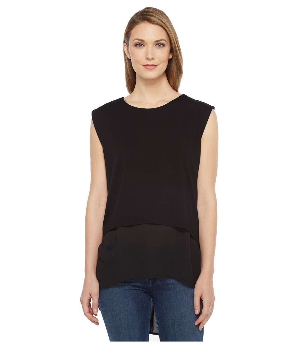 Vince Camuto - Extended Shoulder High-Low Mix Media Layered Blouse (Rich Black) Women's Blouse