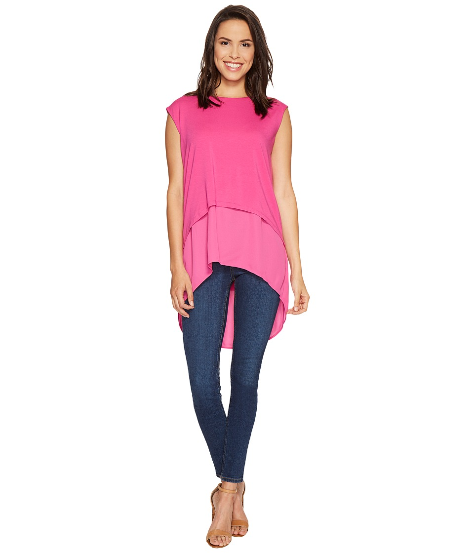 Vince Camuto - Extended Shoulder High-Low Mix Media Layered Blouse (Electric Pink) Women's Blouse