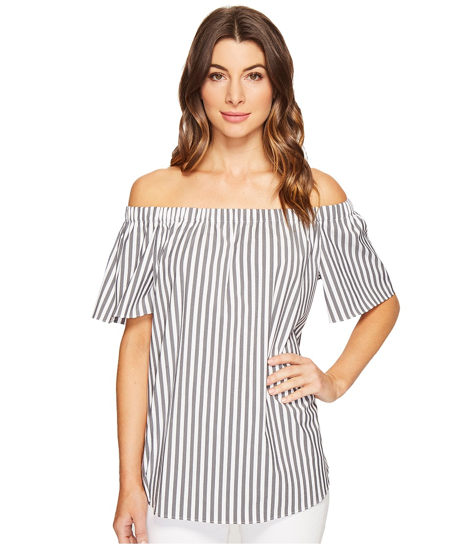 Vince Camuto - Short Sleeve Off Shoulder Stripe Blouse (Rich Black) Women's Blouse