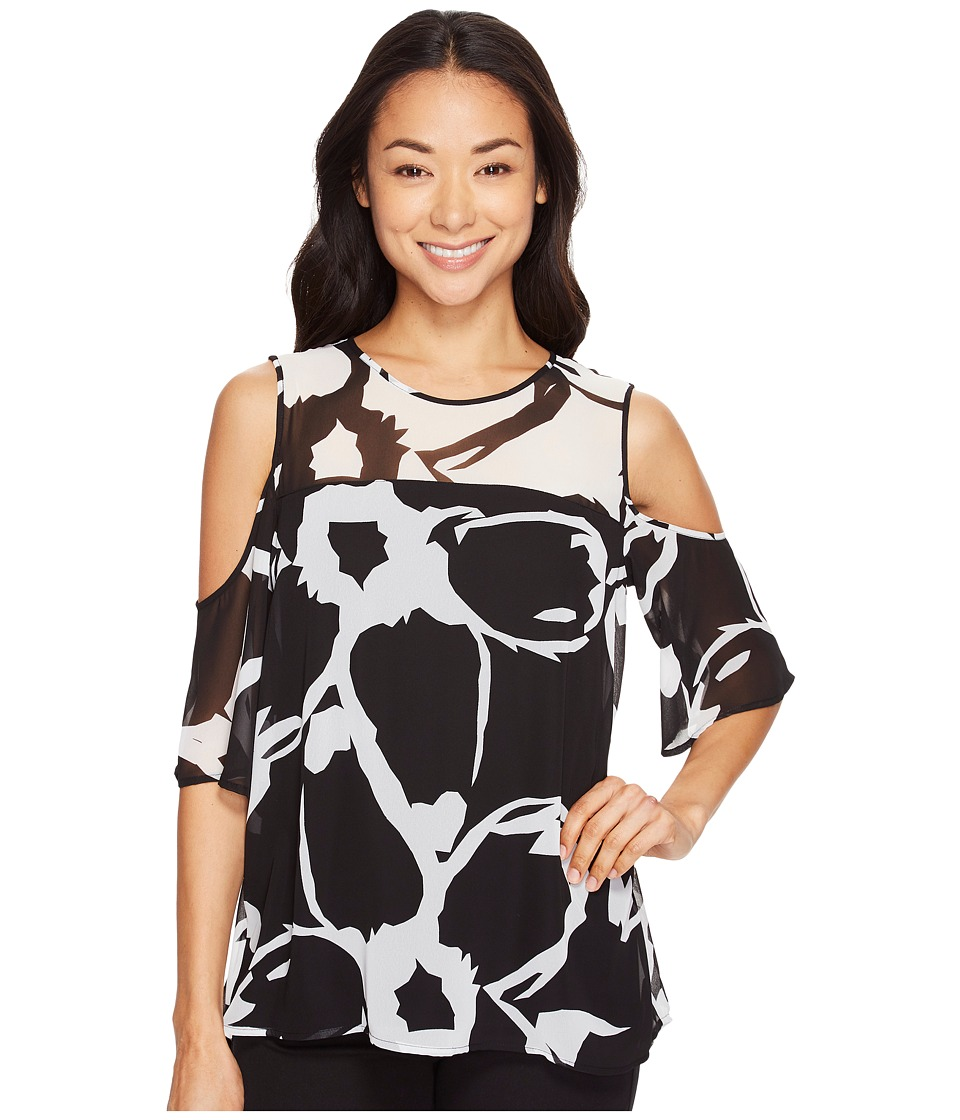 Vince Camuto - Short Sleeve Cut Out Floral Cold-Shoulder Blouse (Rich Black) Women's Blouse
