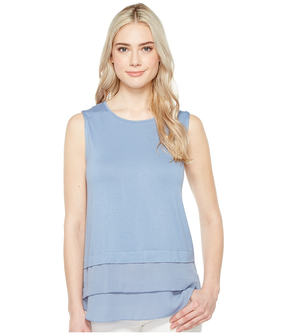Vince Camuto - Sleeveless Mix Media Layered Top (Stormy Blue) Women's Clothing