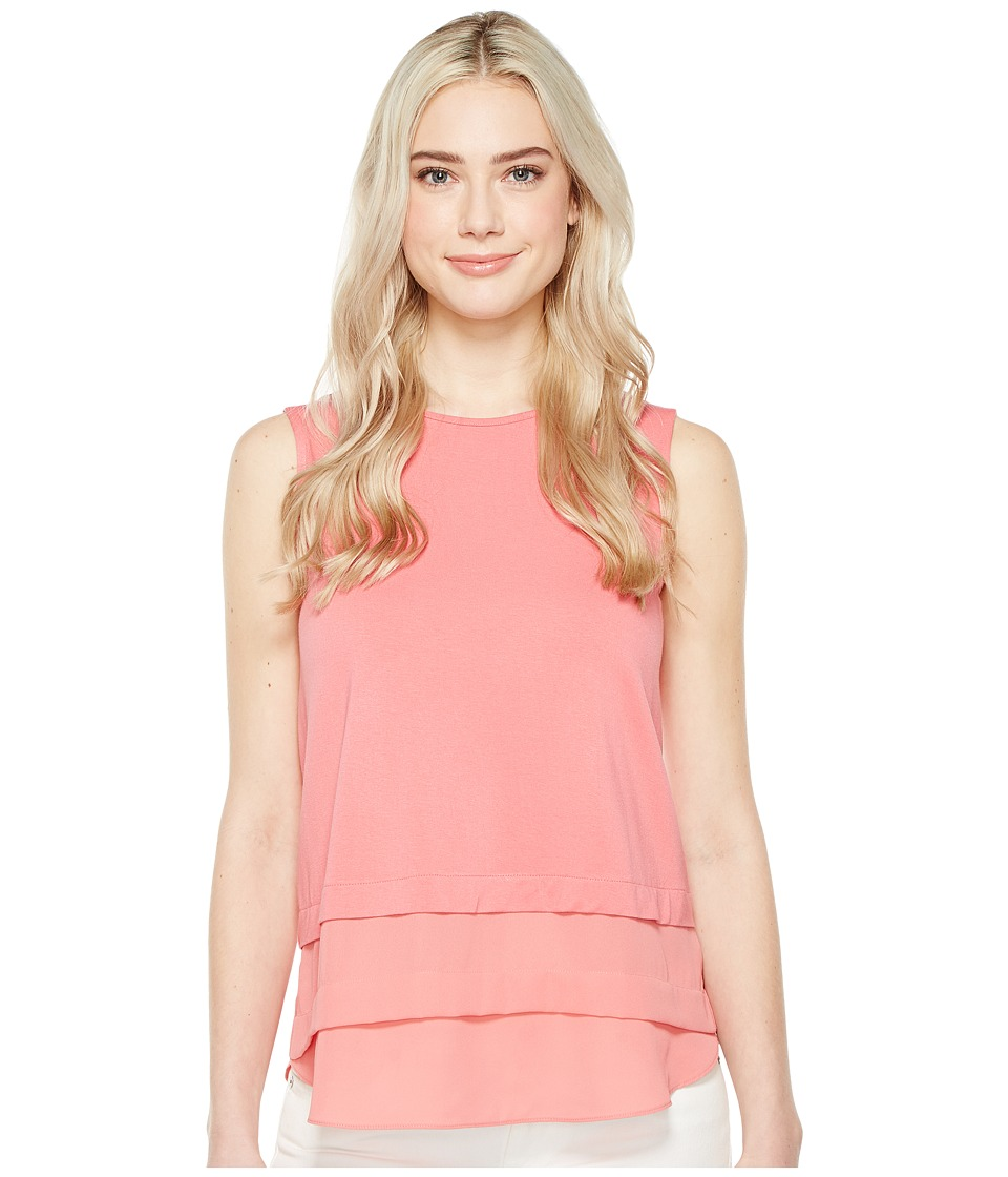 Vince Camuto - Sleeveless Mix Media Layered Top (Rossetto) Women's Clothing