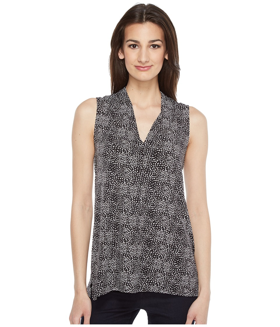 Vince Camuto - Sleeveless Delicate Pebbles V-Neck Top with Seam (Rich Black) Women's Clothing