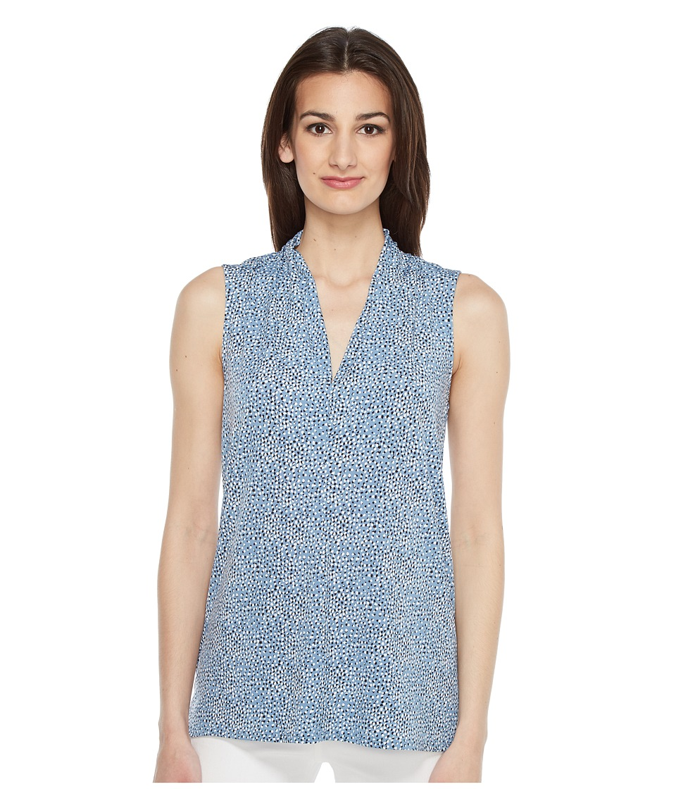 Vince Camuto - Sleeveless Delicate Pebbles V-Neck Top with Seam (Stormy Blue) Women's Clothing