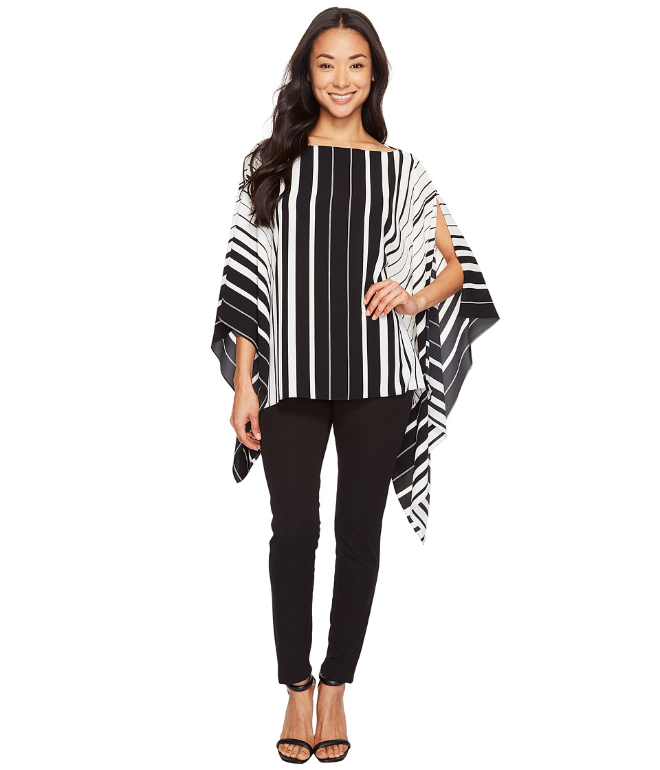 Vince Camuto - Linear Accordion Stripe Poncho (Rich Black) Women's Clothing