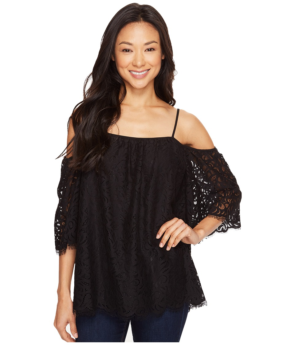 Vince Camuto - Elbow Sleeve Cold-Shoulder Geo Lace Blouse (Rich Black) Women's Blouse