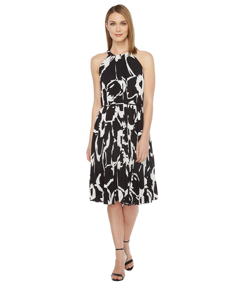 Vince Camuto - Cut Out Floral Pleated Belted Halter Dress (Rich Black) Women's Dress