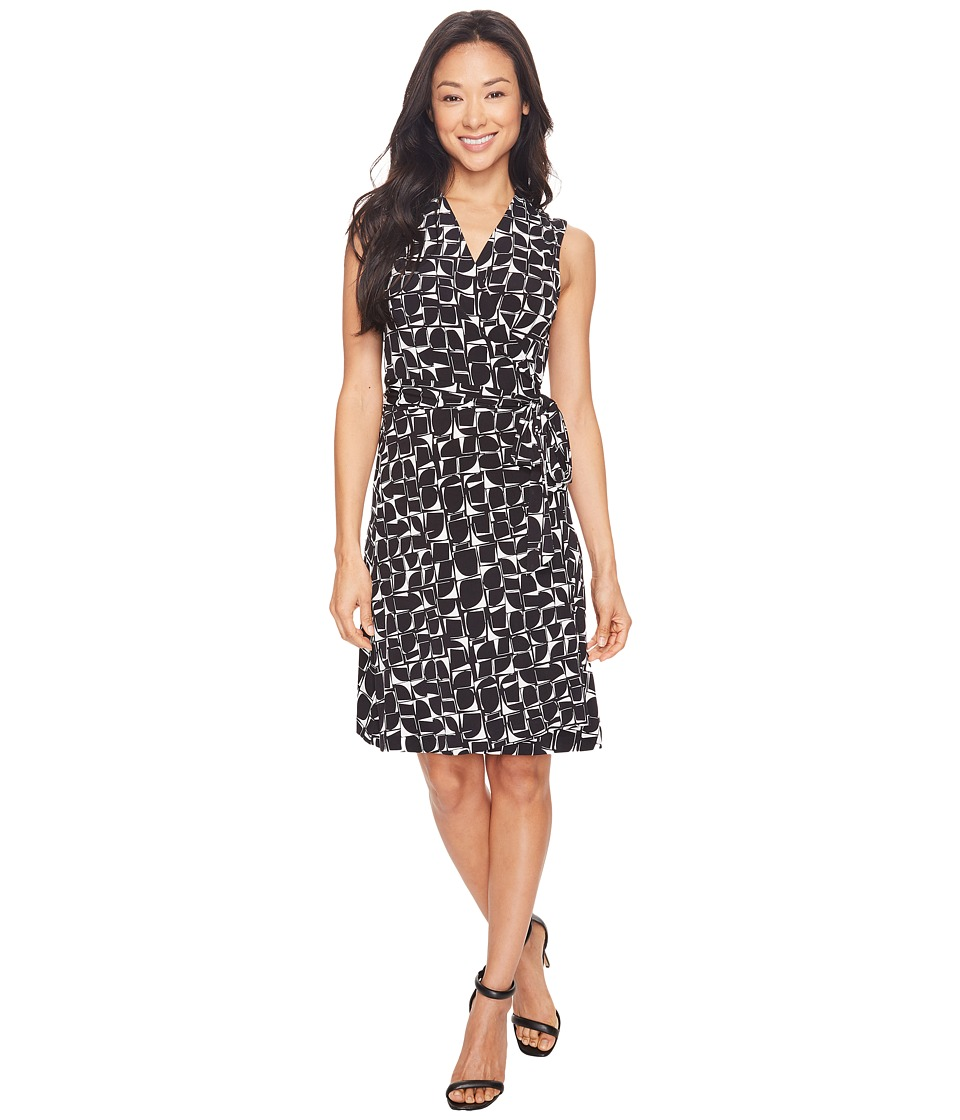 Vince Camuto - Sleeveless Stamp Impression Wrap Dress (Rich Black) Women's Dress