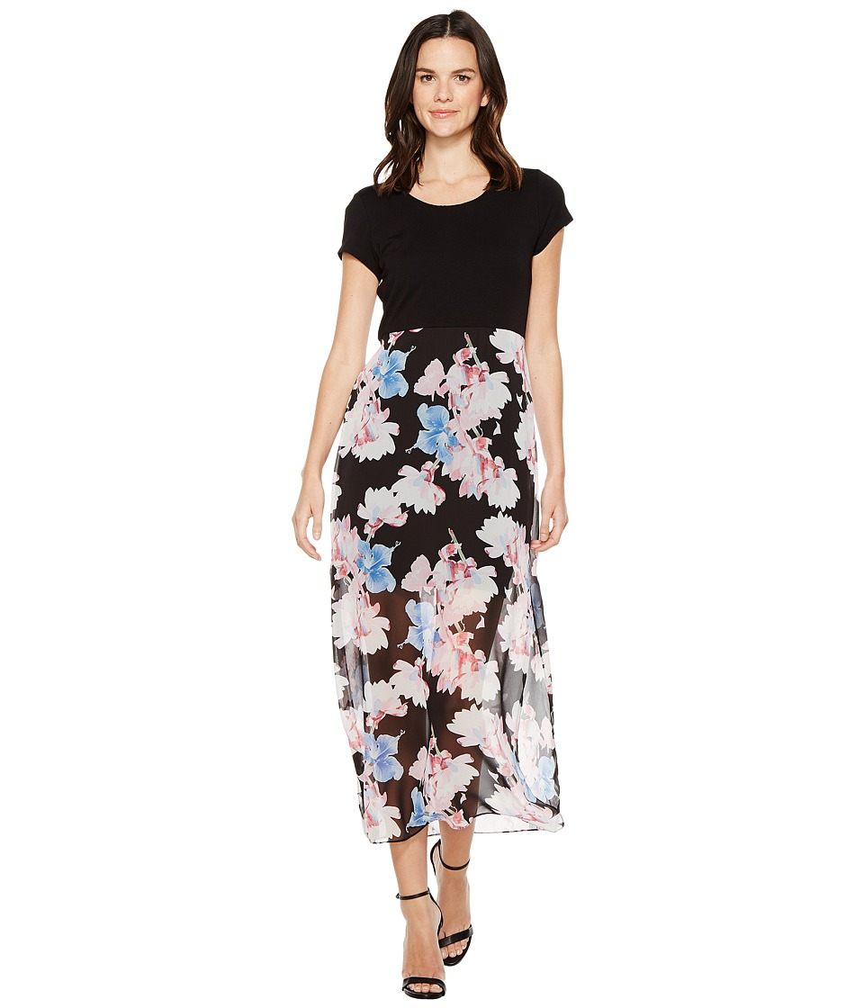 Vince Camuto - Short Sleeve Poetic Bouquet Chiffon Overlay Dress (Rich Black) Women's Dress