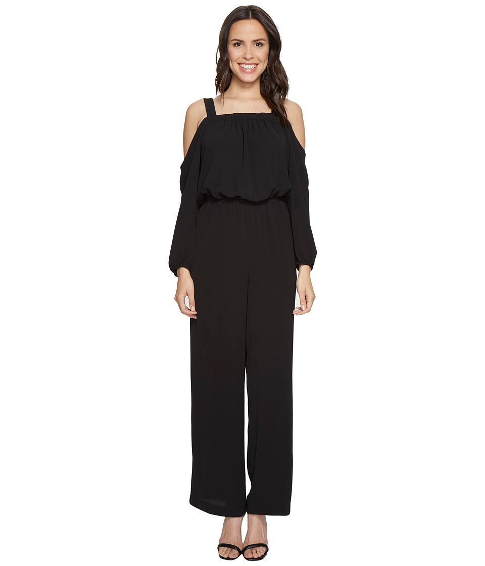 Vince Camuto - Long Sleeve Cold-Shoulder Jumpsuit (Rich Black) Women's Jumpsuit & Rompers One Piece