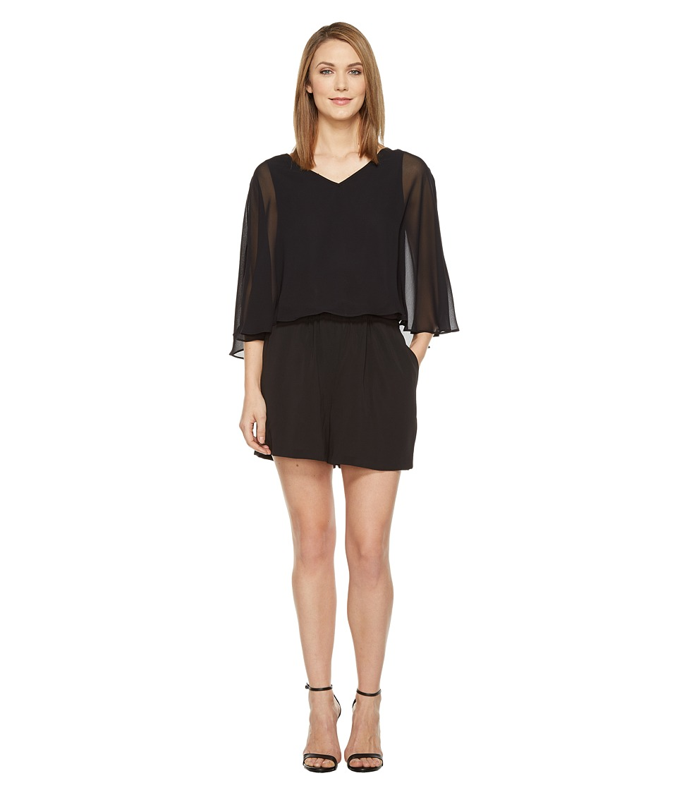 Vince Camuto - Sheer Overlay Romper (Rich Black) Women's Jumpsuit & Rompers One Piece