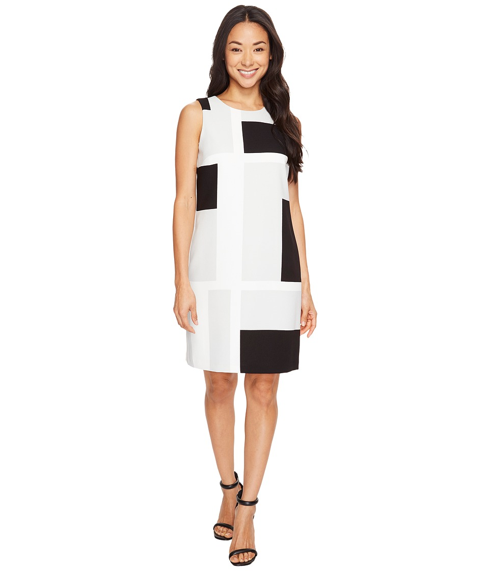 Vince Camuto - Sleeveless Abstract Grid Shift Dress (Glacier Grey) Women's Dress