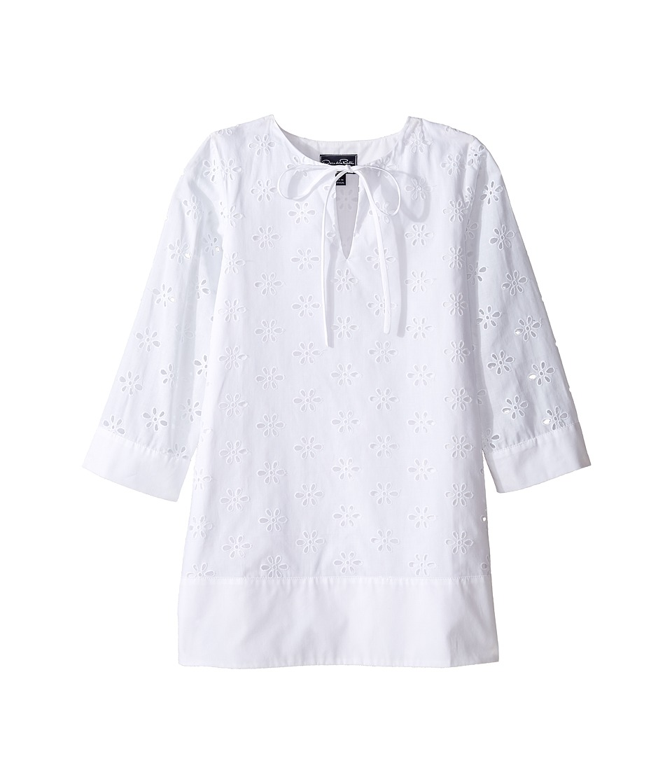 Oscar de la Renta Childrenswear - Cotton Eyelet Caftan (Toddler/Little Kids/Big Kids) (White) Girl's Swimwear
