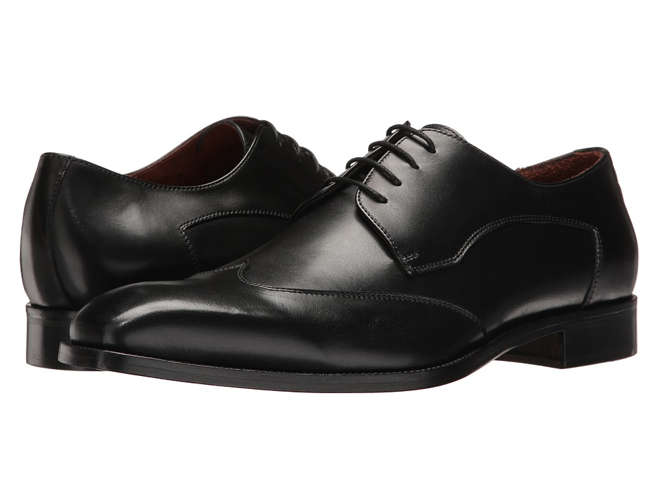 Massimo Matteo - Plain Wing (Black) Men's Lace Up Wing Tip Shoes