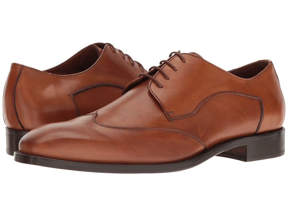 Massimo Matteo - Plain Wing (Burnished Cognac) Men's Lace Up Wing Tip Shoes