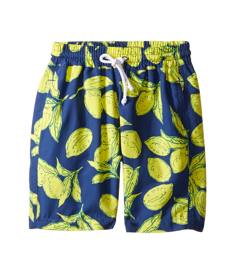 Oscar de la Renta Childrenswear - Painted Lemons Classic Swim Shorts (Toddler/Little Kids/Big Kids) (Navy/Lemon) Boy's Swimwear