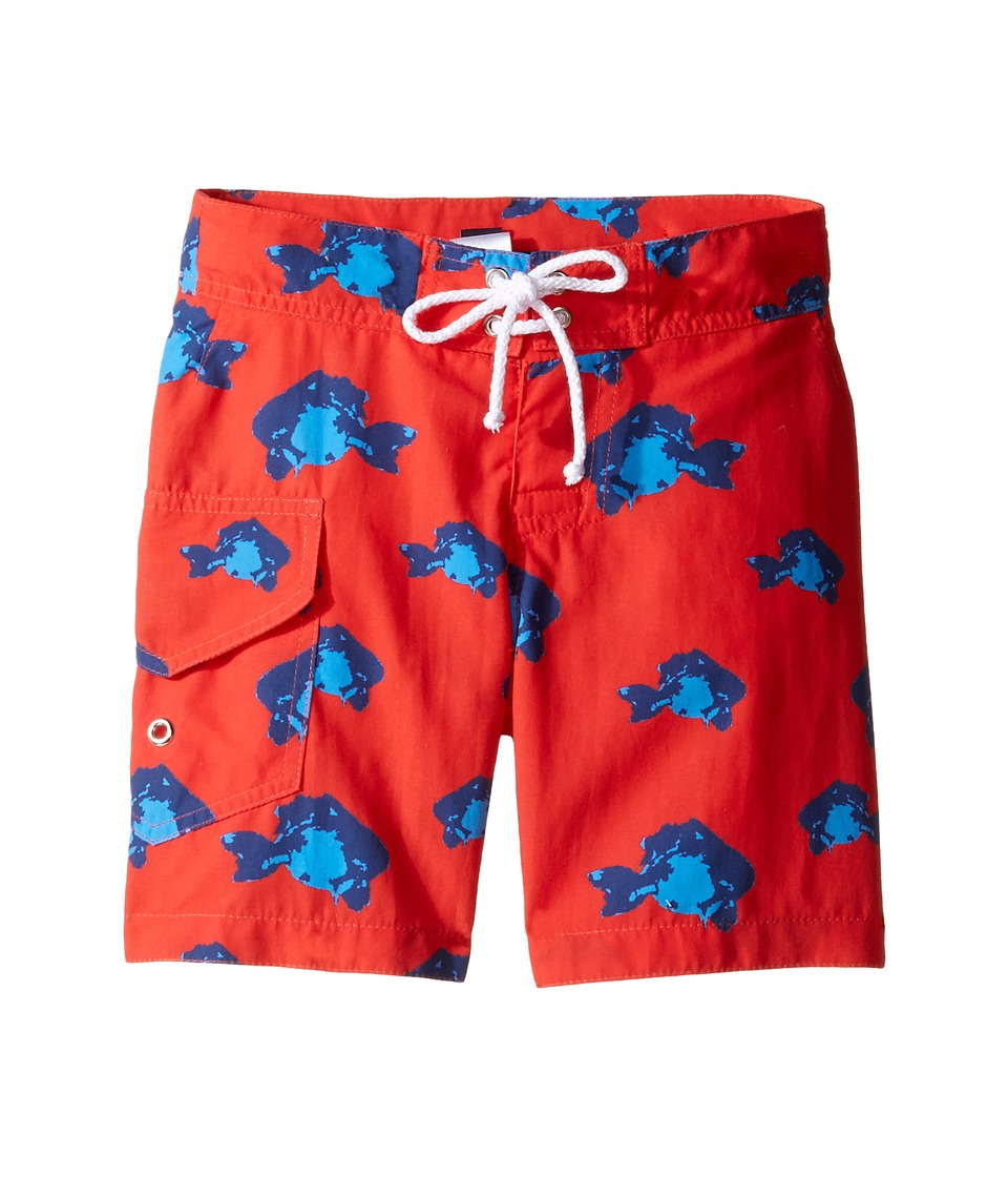 Oscar de la Renta Childrenswear - Fish Surfer Boardshorts (Toddler/Little Kids/Big Kids) (Cherry/Ocean) Boy's Swimwear