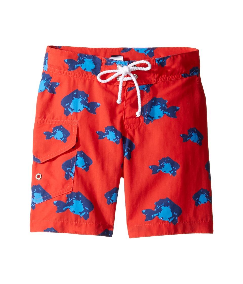 Oscar de la Renta Childrenswear Fish Surfer Boardshorts (Toddler/Little Kids/Big Kids) (Cherry/Ocean) Boy