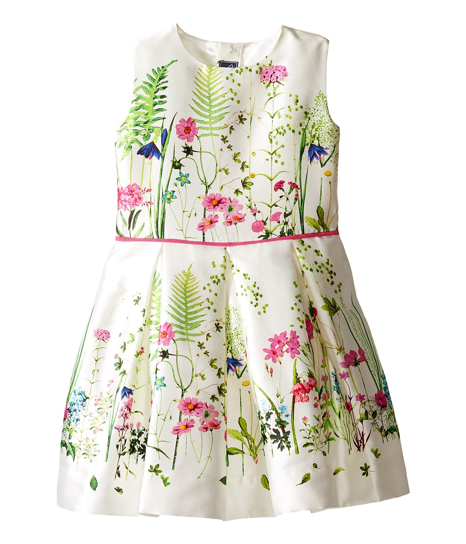 Oscar de la Renta Childrenswear - Botanical Border Mikado Party Dress (Toddler/Little Kids/Big Kids) (White Multi) Girl's Dress