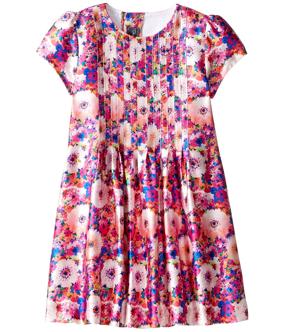 Oscar de la Renta Childrenswear - Rainbow Dalhia Mikado Short Sleeve Pin Tuck Dress (Toddler/Little Kids/Big Kids) (Flamingo) Girl's Dress