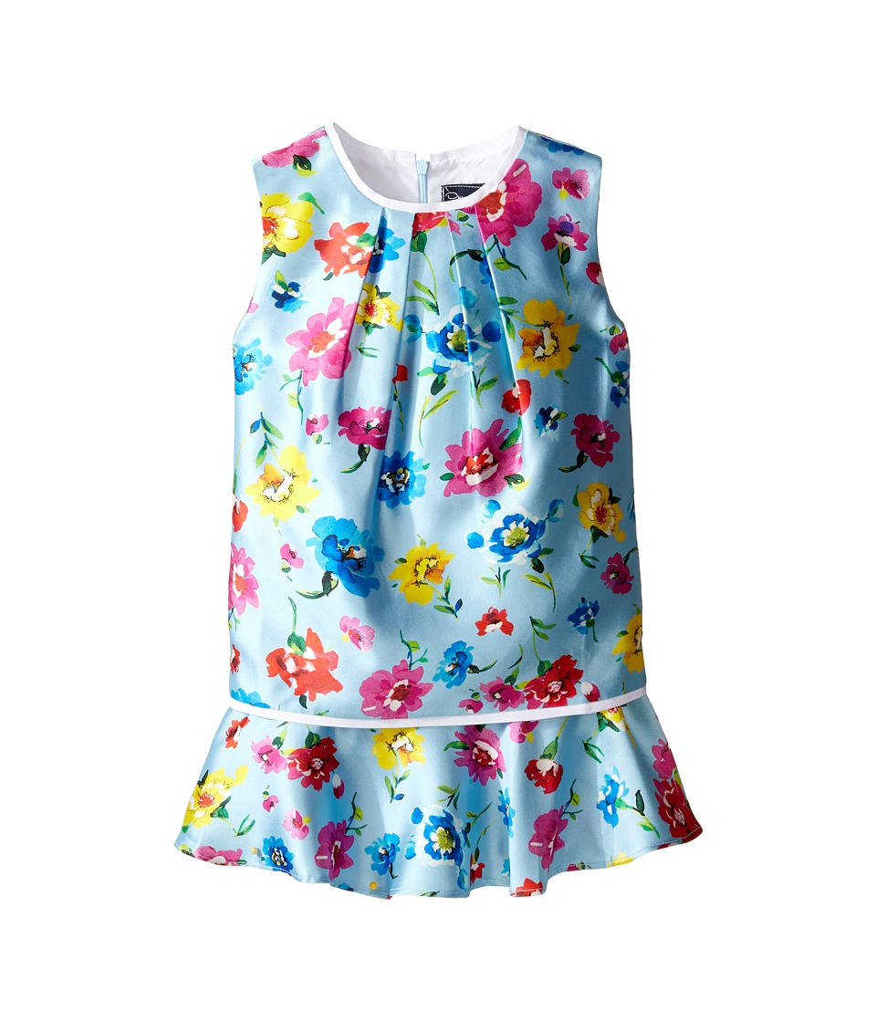 Oscar de la Renta Childrenswear Scattered Flower Mikado Multi Layer Dress