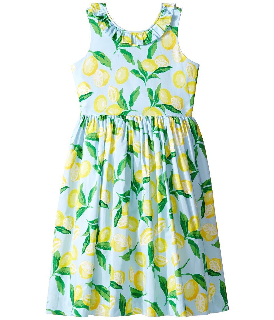 Oscar de la Renta Childrenswear - Painted Lemons Cotton V-Back Dress (Toddler/Little Kids/Big Kids) (Capri/Lemon) Girl's Dress