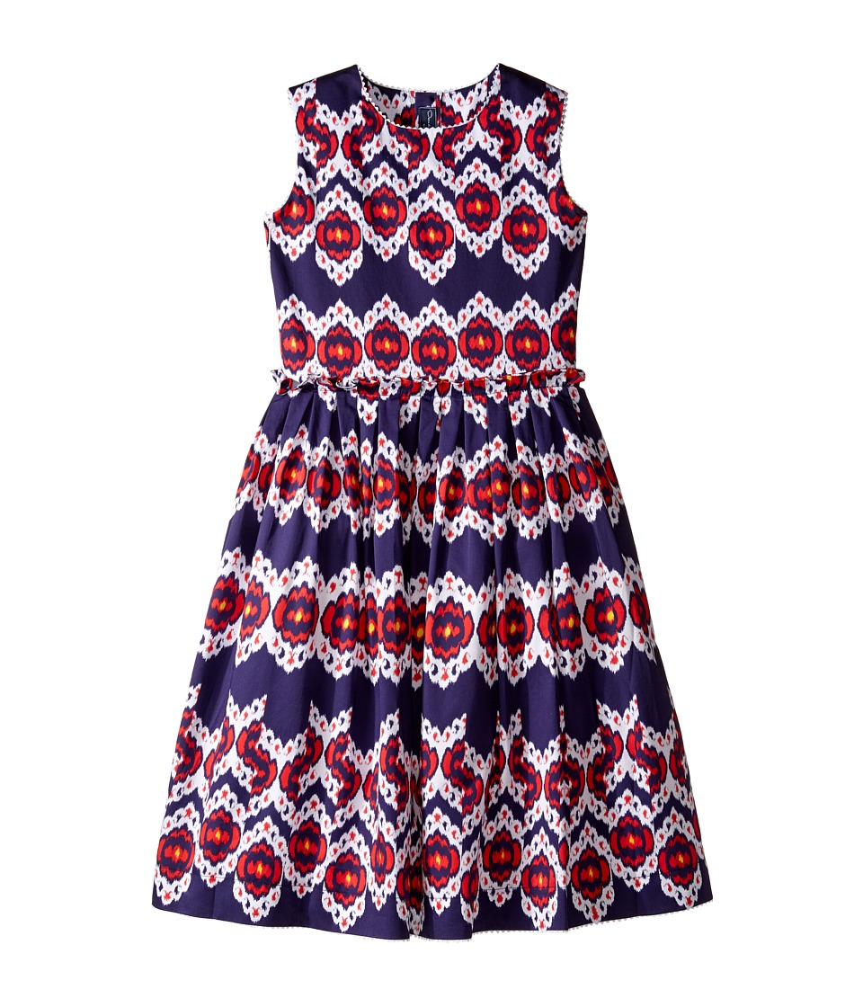 Oscar de la Renta Childrenswear - Ikat Cotton Gathered Skirt Party Dress (Toddler/Little Kids/Big Kids) (Navy/Cherry) Girl's Dress