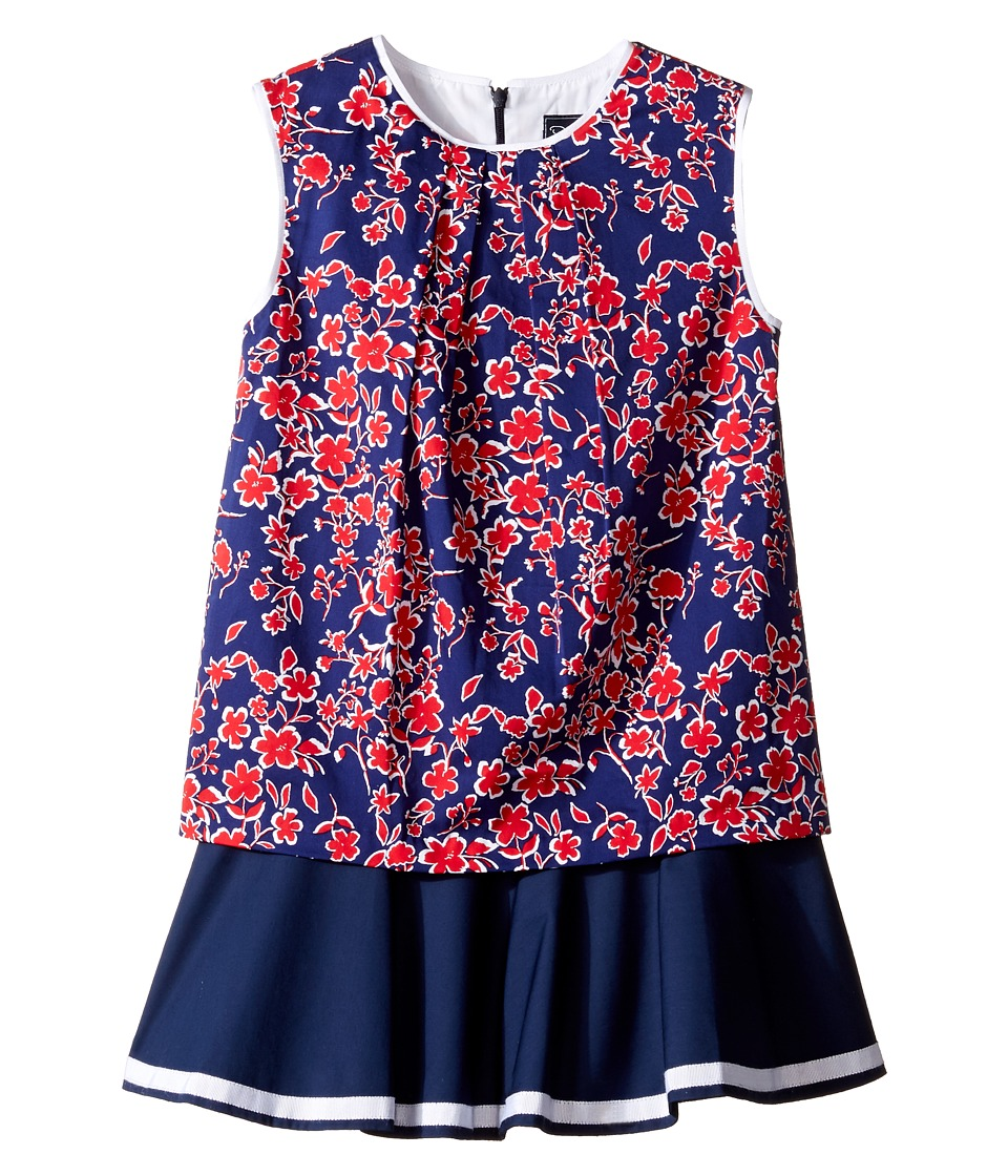 Oscar de la Renta Childrenswear - Graphic Floral Cotton Multi Layer Dress (Toddler/Little Kids/Big Kids) (Navy/Cherry) Girl's Dress