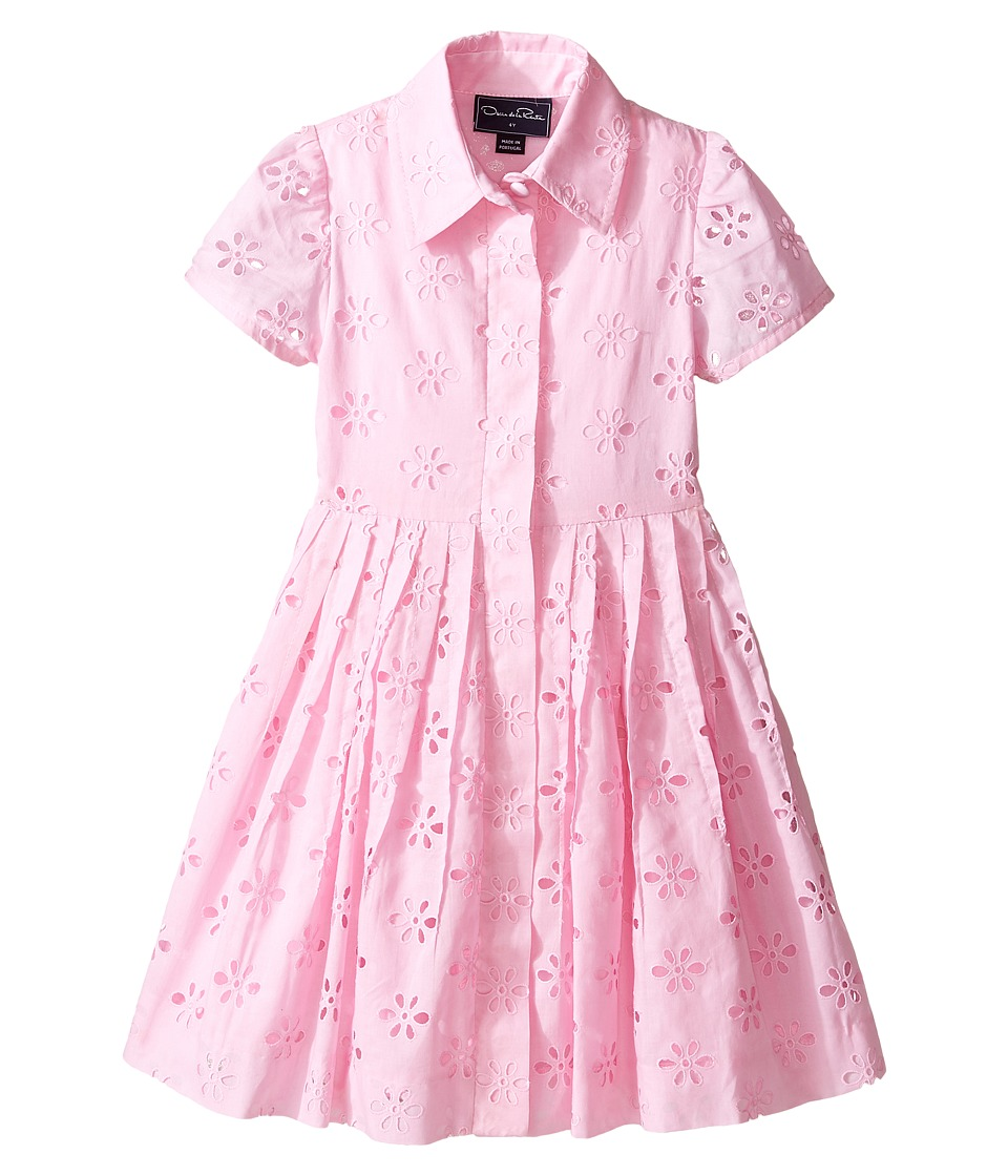 Oscar de la Renta Childrenswear - Cotton Eyelet Shirtdress (Toddler/Little Kids/Big Kids) (Blush) Girl's Dress