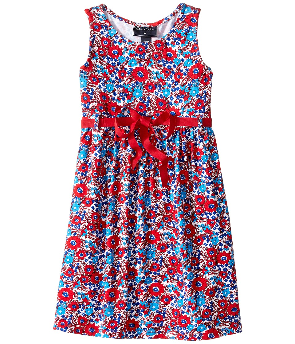 Oscar de la Renta Childrenswear - Blossom Vignette Jersey Sundress (Toddler/Little Kids/Big Kids) (Cherry/Ocean) Girl's Dress