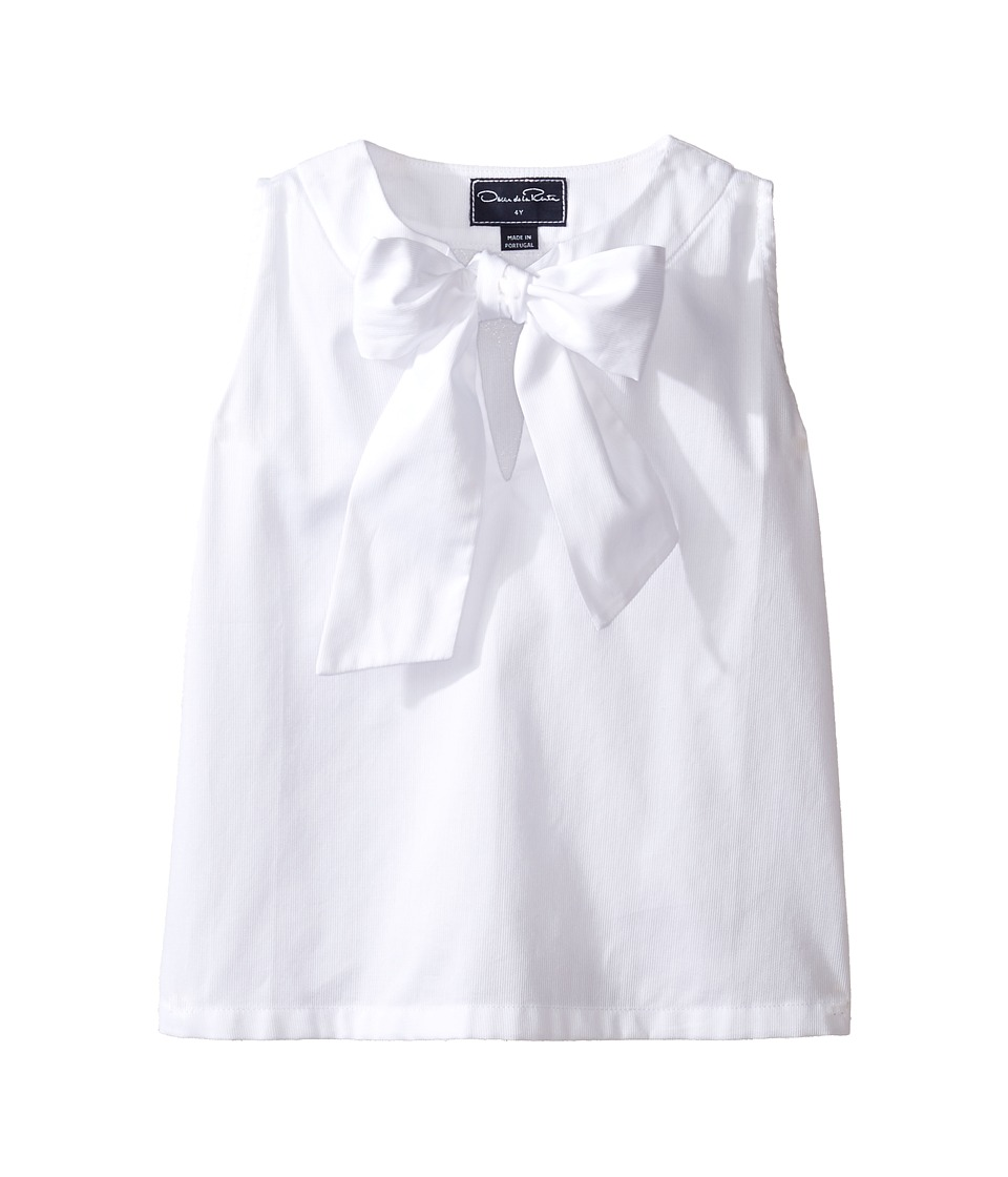 Oscar de la Renta Childrenswear - Cotton Sleeveless Bow Blouse (Toddler/Little Kids/Big Kids) (White) Girl's Blouse