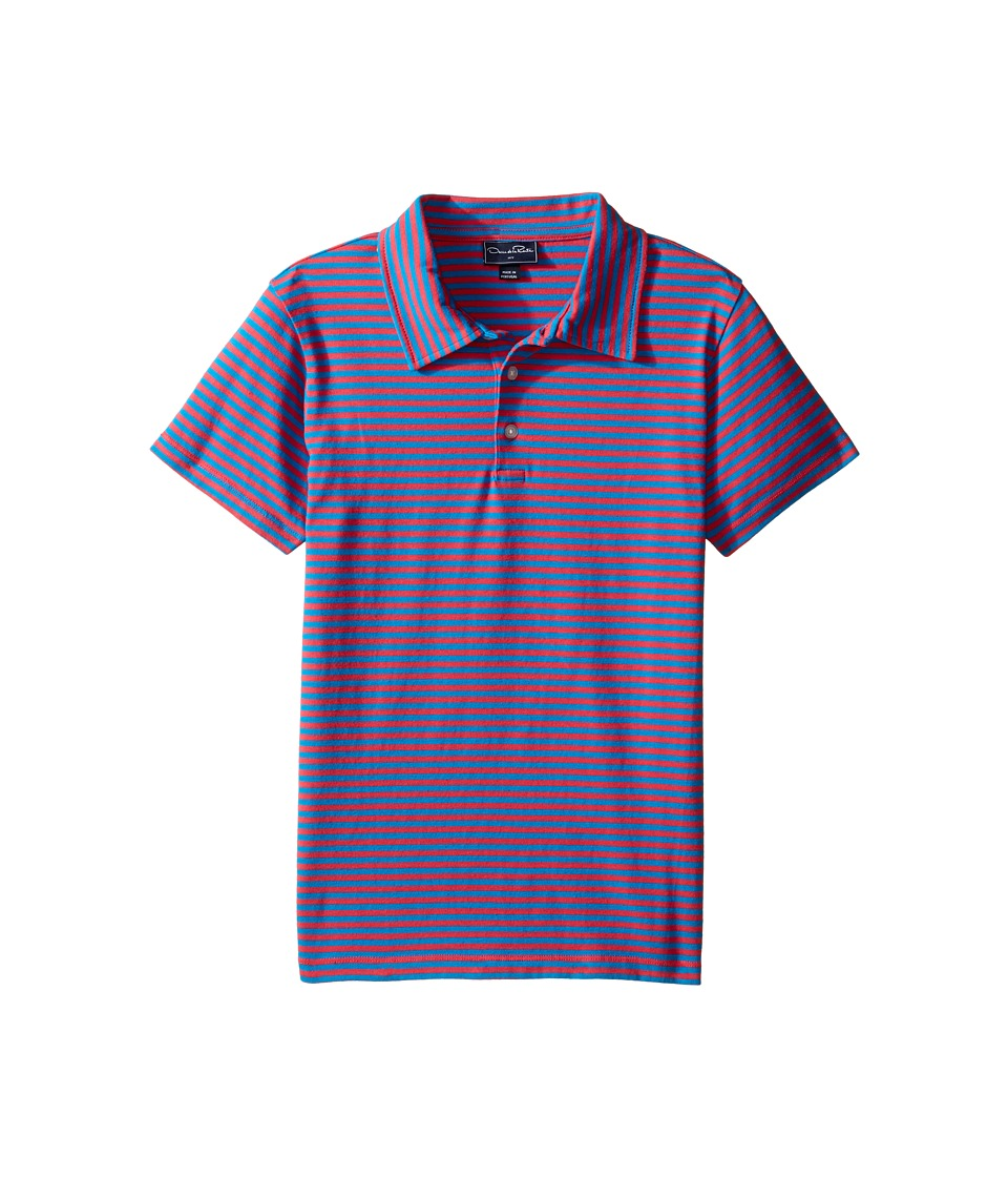 Oscar de la Renta Childrenswear - Striped Short Sleeve Polo (Toddler/Little Kids/Big Kids) (Cherry/Ocean) Boy's Short Sleeve Pullover