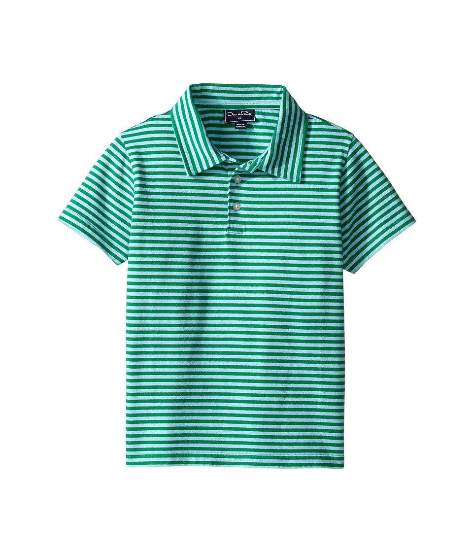 Oscar de la Renta Childrenswear - Striped Short Sleeve Polo (Toddler/Little Kids/Big Kids) (Clover/Capri) Boy's Short Sleeve Pullover
