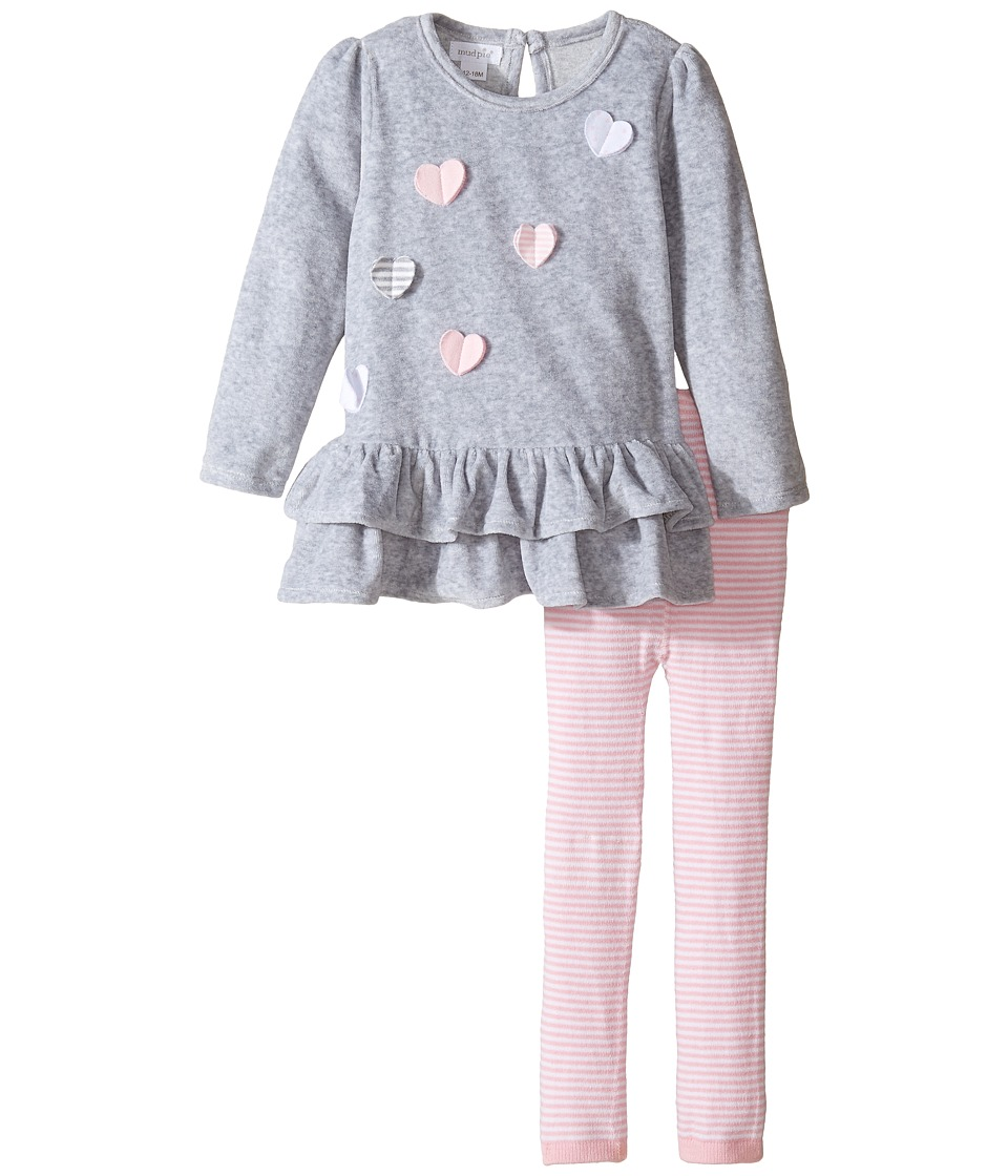 Mud Pie - Heart Tunic And Leggings Set (Infant) (Gray/Pink) Girl's Active Sets