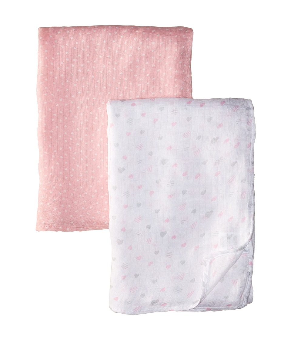 Mud Pie - Heart Bamboo Swaddles Set (Infant) (Gray/Pink) Accessories Travel